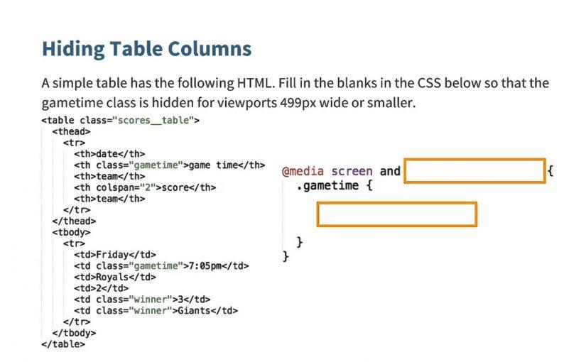 Hide Some Columns Quiz – Responsive Web Design Fundamentals