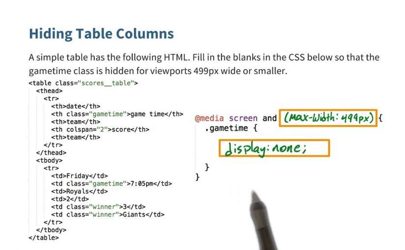 Hide Some Columns Solution – Responsive Web Design Fundamentals