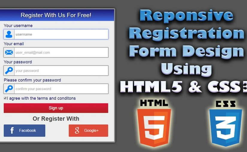 Responsive Registration Form Design Using Html5 Css3 Web Design Tutorial Register Page Design City Kitty Design